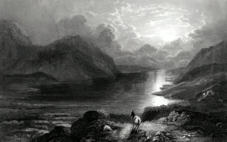 ANTIQUE PRINT: LOCH ERICHT.