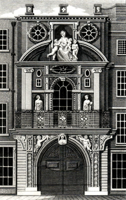ANTIQUE PRINT: MERCERS' HALL, POULTRY.