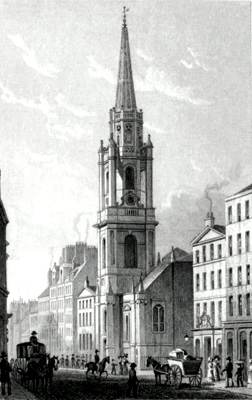 ANTIQUE PRINT: NEW TRON STEEPLE, HIGH STREET, EDINBURGH.