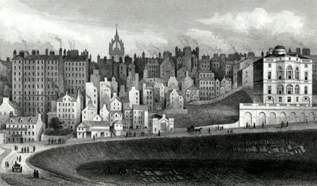 ANTIQUE PRINT: PART OF THE OLD TOWN, EDINBURGH, CONTINUED.