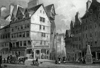 ANTIQUE PRINT: THE WEST BOW, FROM THE LAWN MARKET. EDINBURGH.