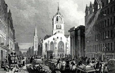 ANTIQUE PRINT: ST. GILE'S [SIC] CHURCH, COUNTY HALL, AND LAWN MARKET, HIGH ST. EDINBURGH.