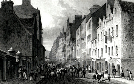 ANTIQUE PRINT: THE CANONGATE, EDINBURGH, LOOKING WEST.
