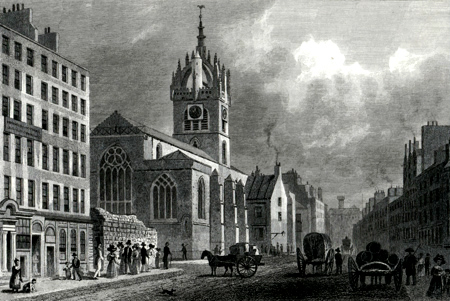 ANTIQUE PRINT: ST. GILES' CHURCH, LOOKING WEST, EDINBURGH.