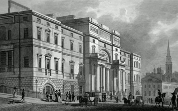 ANTIQUE PRINT: THE UNIVERSITY, SOUTH BRIDGE STREET, EDINBURGH.