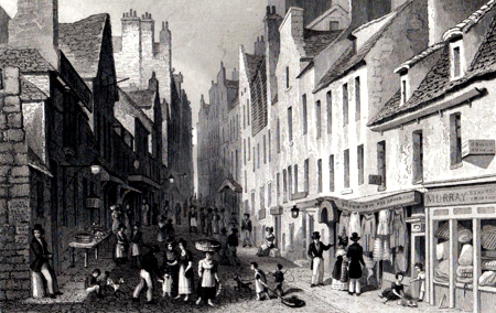 ANTIQUE PRINT: ST. MARY'S WYND, FROM THE PLEASANCE. EDINBURGH.