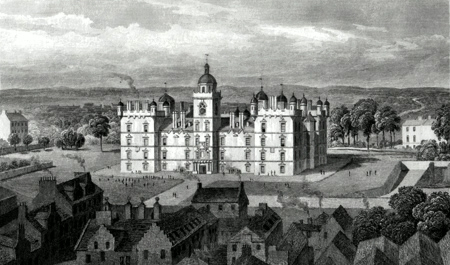 ANTIQUE PRINT: HERIOT'S HOSPITAL, FROM THE CASTLE HILL, EDINBURGH.