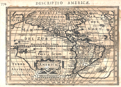 Antique map of the Americas by Petrus Bertius