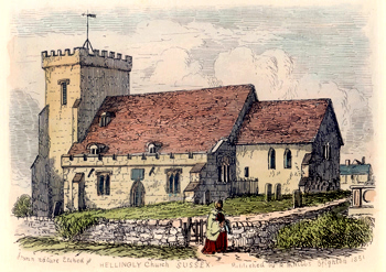 ANTIQUE PRINT: HELLINGLY CHURCH SUSSEX.