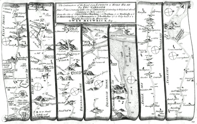 ANTIQUE MAP: THE CONTINUATION OF THE ROAD FROM LONDON TO HOLY HEAD ... COMENCING AT THE CITY OF CHESTER ...