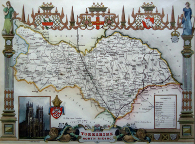 ANTIQUE MAP: YORKSHIRE, NORTH RIDING.