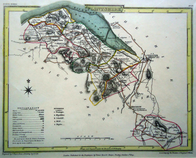 Antique map of Wales