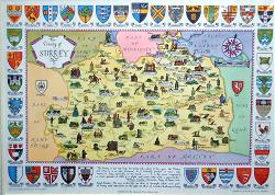 ANTIQUE MAP: THE COUNTY OF SURREY.
