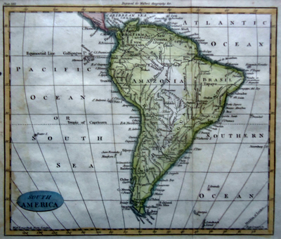 ANTIQUE MAP: SOUTH AMERICA.