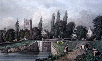 ANTIQUE PRINT: CALNE, FROM THE CANAL.