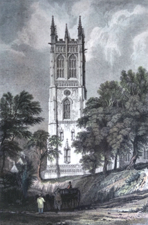 ANTIQUE PRINT: TOWER OF PROBUS CHURCH, CORNWALL.