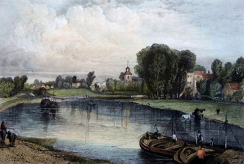 Antique print of Sunbury, Middlesex