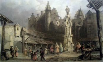 ANTIQUE PRINT: THE FISH MARKET, ANTWERP.