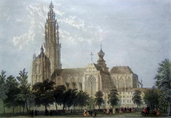 ANTIQUE PRINT: PLACE VERTE, ANTWERP.