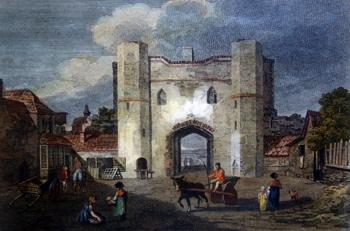 ANTIQUE PRINT: NORTH GATE, YARMOUTH.