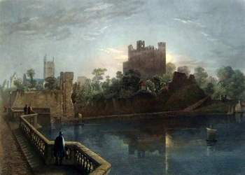 ANTIQUE PRINT: ROCHESTER CASTLE. KENT.