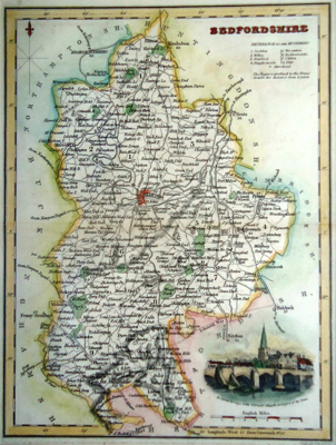 ANTIQUE MAP: BEDFORDSHIRE.
