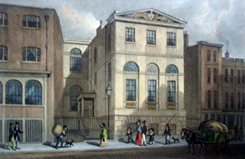 ANTIQUE PRINT: CORDWAINER'S HALL, DISTAFF LANE.
