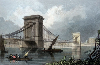 Antique print of Hammersmith Bridge