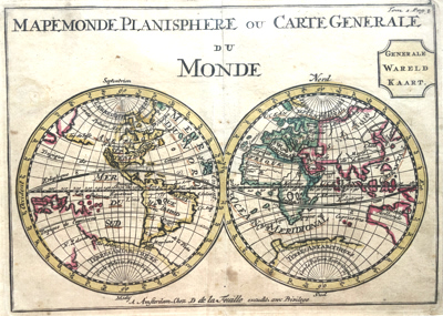 ANTIQUE MAP: [MAP OF THE WORLD] MAPEMONDE PLANISPHERE OU CARTE GENERALE DU MONDE = GENERALE WARELD KAART.