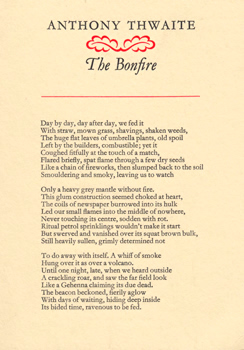 THWAITE, Anthony (Anthony Simon), 1930- : THE BONFIRE.