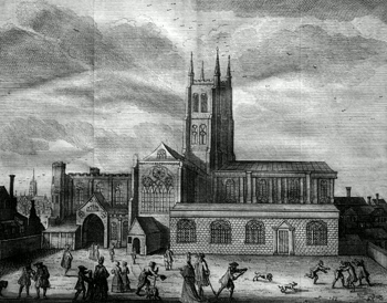 ANTIQUE PRINT: [SOUTHWARK CATHEDRAL] EGLISE DE ST. MARIE DANS SOUTH WARK.