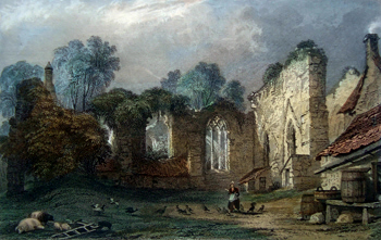 ANTIQUE PRINT: FINCHALE PRIORY, DURHAM.