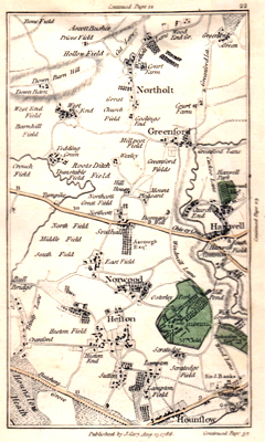 ANTIQUE MAP: [MIDDLESEX – GREENFORD, HESTON, HANWELL, NORTHOLT, SOUTHALL, ETC].