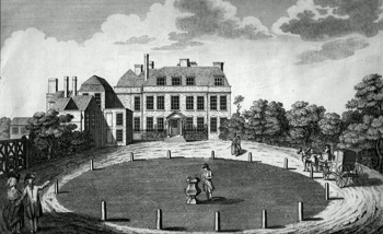 ANTIQUE PRINT: THE SEAT OF ADMIRAL KEPPEL NEAR BAGSHOT IN SURREY.