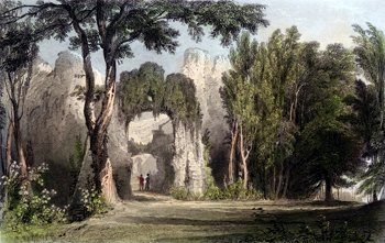 ANTIQUE PRINT: RESTORMEL CASTLE, CORNWALL.