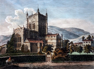 ANTIQUE PRINT: MALVERN ABBEY.