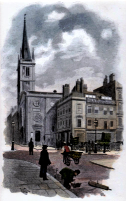 ANTIQUE PRINT: ST. MARGARET'S CHURCH AND OLD HOUSES IN EASTCHEAP.