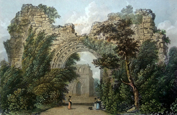 ANTIQUE PRINT: DRYBURGH ABBEY, SCOTLAND.