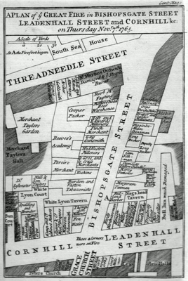 ANTIQUE MAP: A PLAN OF YE GREAT FIRE IN BISHOPSGATE STREET, LEADENHALL STREET AND CORNHILL &C: ON THURSDAY NOVR. 7.TH 1765.