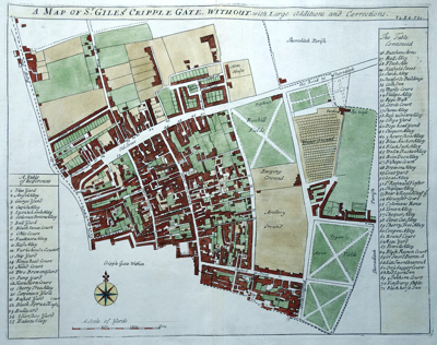 ANTIQUE PRINT: A MAP OF ST. GILES'S  CRIPPLE GATE. WITHOUT. WITH LARGE ADDITIONS AND CORRECTIONS.