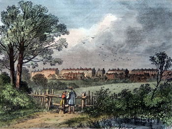 ANTIQUE PRINT: CAMDEN TOWN, FROM THE HAMPSTEAD ROAD, MARYLEBONE, 1780.