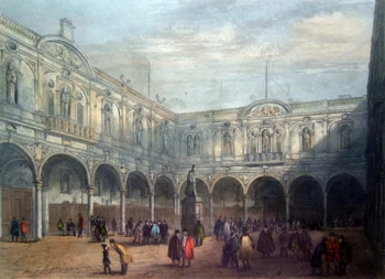 ANTIQUE PRINT: ROYAL EXCHANGE. DESTROYED BY FIRE JANY. 10TH 1838.