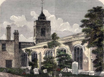 ANTIQUE PRINT: THE CHURCH OF ALLHALLOWS, BARKING, IN 1750.