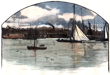 ANTIQUE PRINT: ERITH, FROM THE RIVER.