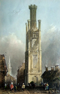 ANTIQUE PRINT: WALLACE TOWER – AYR.
