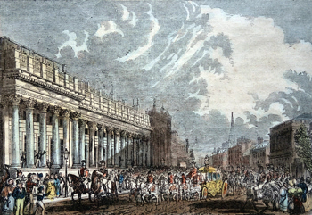 ANTIQUE PRINT: PARLIAMENT STREET – BOARD OF TRADE – TREASURY AND WHITEHALL – THE KING GOING TO THE HOUSE.