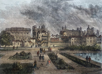 ANTIQUE PRINT: THE HORSE GUARDS, FROM ST. JAMES'S PARK. (TEMP. CHARLES II.)