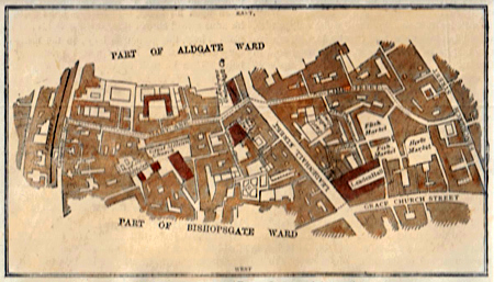 ANTIQUE MAP: LIME STREET WARD. (FROM A SURVEY MADE IN 1750.)
