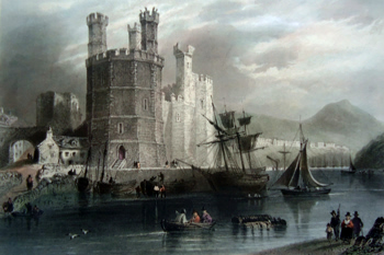 Antique print of Caernarfon
