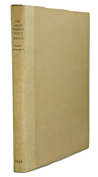 FRANCIS, Sir Frank Chalton, 1901-1988 – editor : THE BIBLIOGRAPHICAL SOCIETY 1892-1942 : STUDIES IN RETROSPECT.